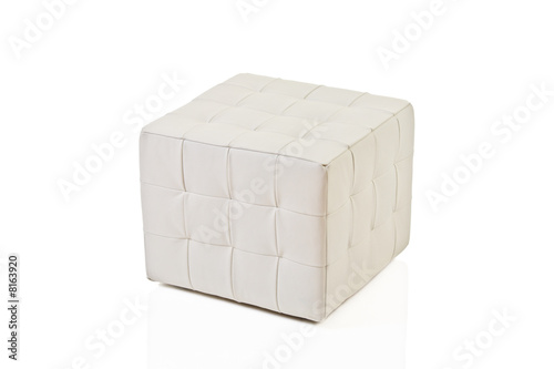 White footstool isolated against white background