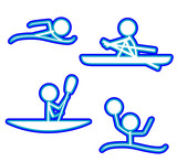 Sports Icons (Swimming/Rowing/Kayaking/WaterPolo) poster
