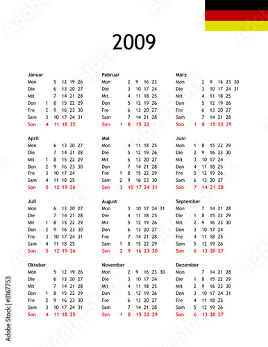 2009 Calendar template in GERMAN
