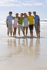 Group of teenagers (14-16) arm in arm on beach, smiling, portrait