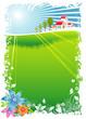 Green Village Scenic, vector illustration layers file.