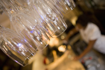 Champagne glasses in restaurant