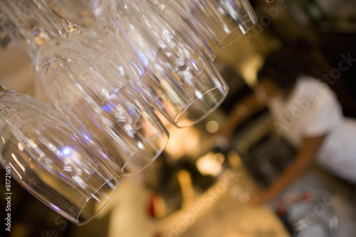 Champagne glasses in restaurant