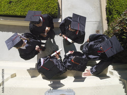 Graduates in caps and gowns, elevated view