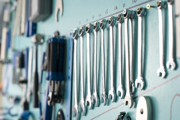 Tools hanging on wall