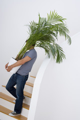 Young man with plant on stairs