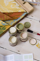 Colour swatches, fabric and paint samples