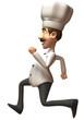 Chef cuisinier qui court