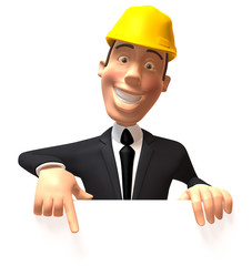 Chef de chantier avec un panneau blanc