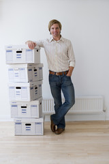 Man with boxes, portrait