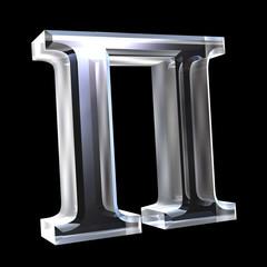 Pi symbol in glass (3d)