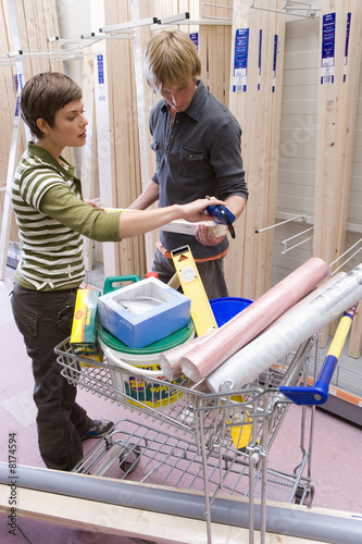 Couple shopping in hardware store