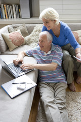 Senior couple with laptop computer in living room, smiling