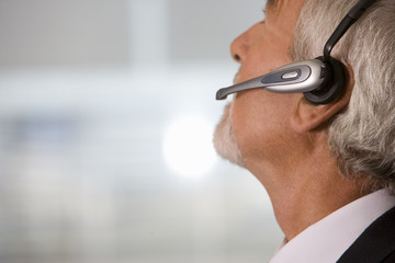 Close up of hands-free telephone headset