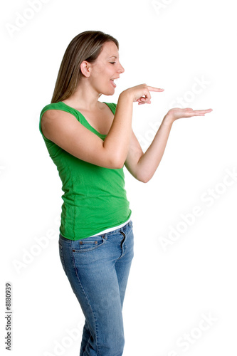 Woman Pointing to Hand
