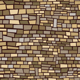 Seamless, repeating background of brown irregular bricks poster