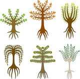Six vector trees inspired by folk art poster