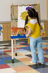 Girl (3-5) painting picture on easel in classroom, rear view