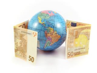euro money globe planet bank cash concept