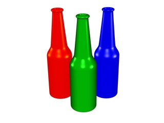 Three color bottles