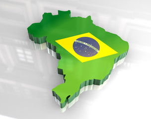 3d flag map of brazil