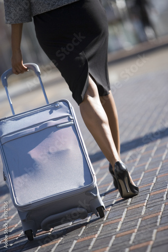 Businesswoman in skirt and high heels walking with luggage, low section, rear view (tilt)