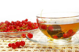 Red currant and herbal tea poster