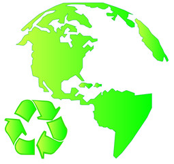 north america land mass with recycle symbol