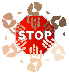 ethnic hands on top of stop sign - concept - stop racism