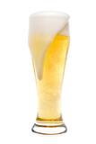 Foaming beer in a pilsner glass poster