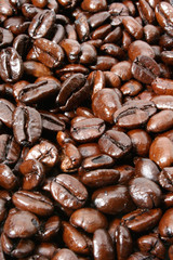 Dark and shiny French Roasted coffee beans closeup