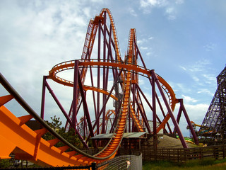 Steel roller coaster at amusement park