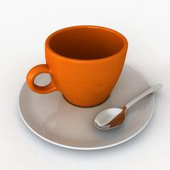 Una tazzina di caffè arancione e bianca