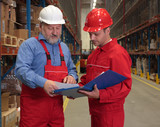 two workers in uniforms in warehouse poster
