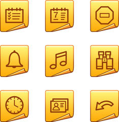 Organizer icons, gold sticker series