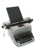 Vintage old type writer against a white background poster