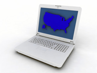 laptop with a map US