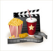 movie items- popcorn,soda,ticket,clapper,movie film