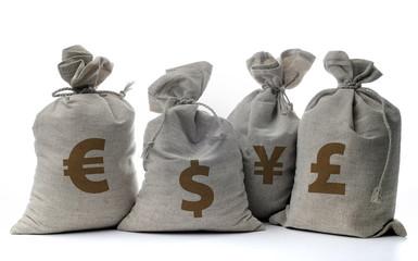 Money sacks on a white background
