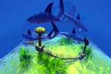 School of hungry sharks in the caribbean sea poster