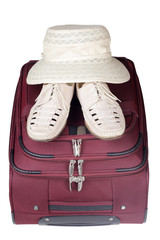 Shoes Pair and Hat on Bag