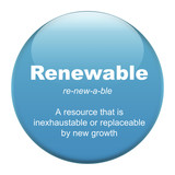 Renewable glass button isolated over white background poster