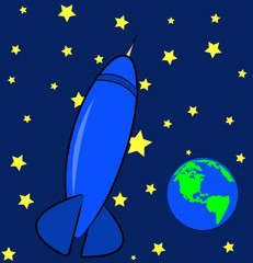 blue rocket ship in the sky with stars and earth