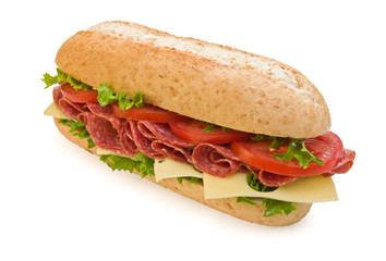 Large salami submarine sandwich with cheese and tomatoes