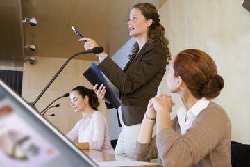 Businesswoman talking in conference room, holding folder, colleagues listening, pointing, side view