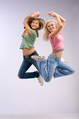 hight jumping two women