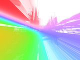 abstract rainbow luminous future background poster