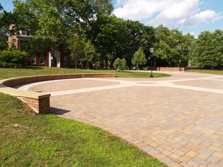 large brick outdoor patio area