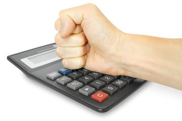 fist with calculator