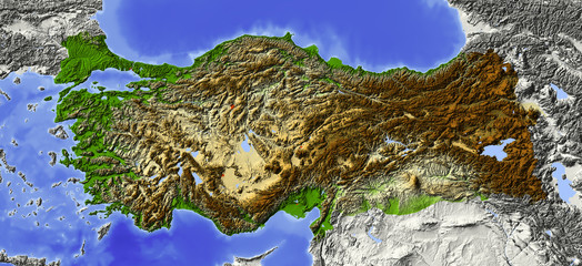 Shaded relief map of Turkey